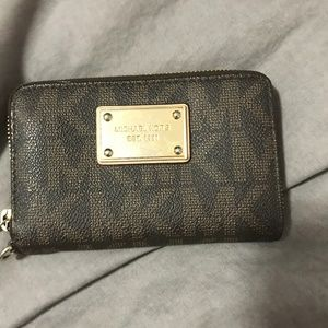 Michael Kors brown logo wristlet wallet